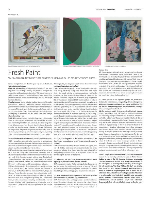 Fresh Paint (The Visual Artists' News Sheet- VAN, ISSUE 5 September-October 2017)