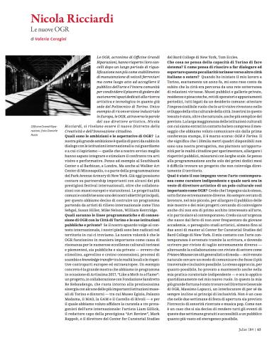 Nicola Ricciardi. Le nuove OGR (Juliet n.184)