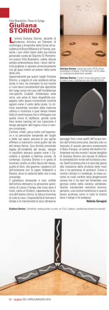 Giuliana Storino. L'arabesco del tempo. Segno n.267, p.62