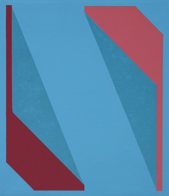 Untitled (Blue Red Pink) 2018, Oil and ink on canvas, 29 x 25 cm