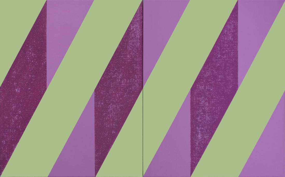 Untitled (Purple Mauve Green) 2018, Oil and ink on linen, 76 x 122 cm (diptych)